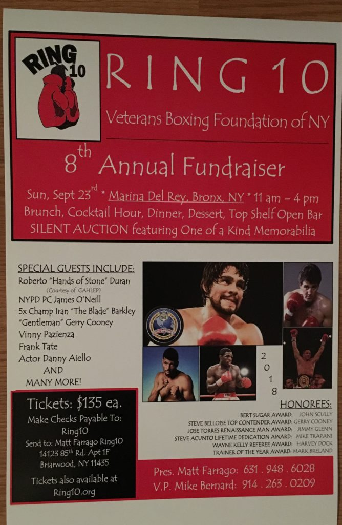 Ring 10 8th Annual Fundraiser Poster With Roberto Duran